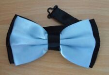 SKY BLUE & BLACK  SOLID BUSINESS WEDDING PRE-TIED ADJUSTABLE BOW TIES