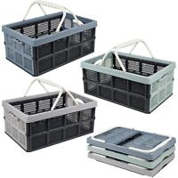 Collapsible Folding Plastic Storage Crate Box Carry Handles Home Tidy Organisers