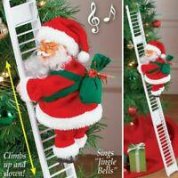 Elektrische Weihnachtsmann auf Leiter Deko Nikolaus Santa Weihnachten 70cm Dekor