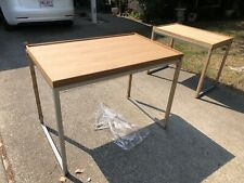 Light Wood and Metal Raised Edge Table for Retail Display Store Fixtures