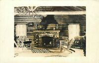 Indian Rug Anthers Rustic Western Fireplace 1920s RPPC Photo Postcard 20-2992