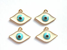 4 x LUCKY WARD OFF THE EVIL EYE ENAMELLED CHARMS BRONZE 23 x 16mm