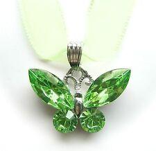 NEU 42cm+6cm COLLIER Schmetterling SWAROVSKI STEINE peridot/grün HALSKETTE