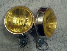 pair chrome glass amber yellow fog lights ford chevy toyota honda plymouth dodge
