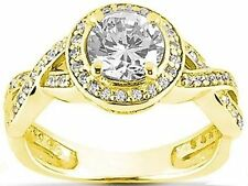 1.01 ct Round Diamond Halo Solitaire Engagement 14k Yellow Gold Ring 1.39 tcw
