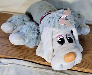 "Vintage Tonka Pound Puppy Furries Gray Poodle Dog 18"" Plush Pink Bow Collar"
