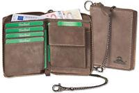 Woodland® Leder Geldbörse mit Reißverschluss und Metall-Kette in Dunkelbraun