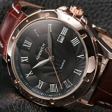Agent.X Luxury Mens Sport Leather Date Stainless Steel Quartz Analog Wrist Watch