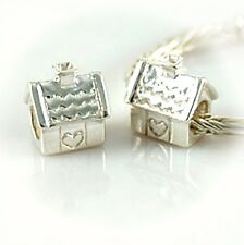 HOUSE w Chimney-Heart-Home-European charm bead-Genuine Solid 925 Sterling silver