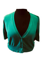 M&S Woman Knit Cardigan Jade Green Size 16 Fitted Short Sleeves Rockabilly 50's