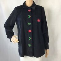 Quacker Factory Top Size S Black Poinsettia Holly Corduroy Button Front
