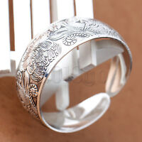 Alloy Tibet Silver Carved Fortune Phoenix Peony Cuff Bangle Bracelet HW