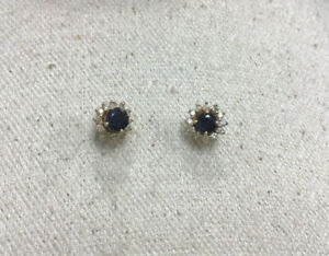 14K Yellow Gold 2 Piece Sapphire & Diamond Stud Earrings JJ113