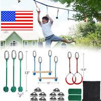 Ninja Warrior Kids Adult Obstacle Course Kit Sport Competition Slackline Set USA