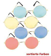 Hippie-Brille rund sort. John Karneval Mottoparty Festival Accessoire 125036213