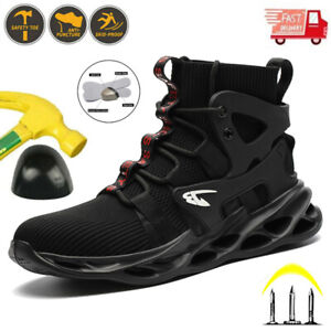 Mens Safety Shoes High Top Hiking Boots Work Trainers Steel Toe Cap Lightweight