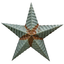 """Galvanized Rusty Courgated 12"""" Barn Star Classic Country Decor"""