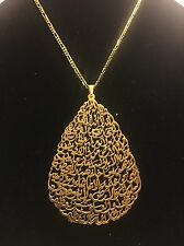 Teardrop Pendant Ayatul Kursi Elegant Arabic Islamic Jewelry 24K Gold Plated