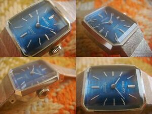 Unused Vintage SEIKO Violet Special Women's Watch Dead Stock Blue Square Dial