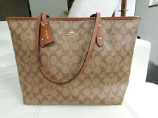 New With Tag Coach Khaki and Saddle Signature City Zip Tote Bag F36876 $295