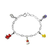 De Buman Sterling Silver Enamel Bear and Boots Bead fit Bracelet, 8.5 inches