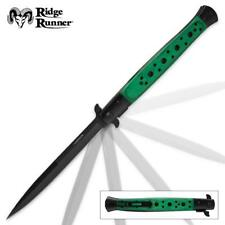 """GIANT 13"""" Linerlock Stiletto Assisted Opening Knife Green Wood Handle HUGE"""