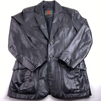 Vtg Raffaelo Men's Size 38 Black 100% Genuine Leather Mid Thigh Lined Jacket EUC