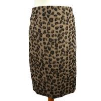 M&S 18 Leopard Print Wool Blend Pencil Skirt Brown Beige Knee Length Winter