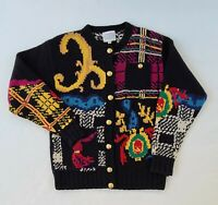 Susan Bristol  Vtg 1992 Hand Knit Cardigan Multicolored Sweater Size Small