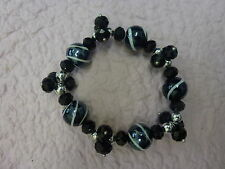 **Black & White Crystal Glass Faceted Beaded Chic Bracelet With Lampwork Beads**