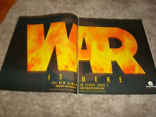 "War 1994 promo ad of name on fire for hit ""Peace Sign"" Lee Oskar, Eric Burdon"