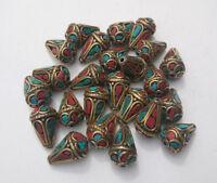 Asian handmade  Brass Metal Beads (24 pcs) 16 mm Turquoise Ethnic Nepalese B14