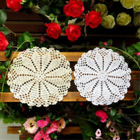 2x Cotton Yarn Hand Crochet Lace Doily Placemat Round 20CM White Table Cup Mat
