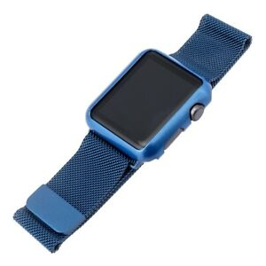WITHit 42MM Apple Watch Mesh Band And Cover Dark Blue Magnetic Closure