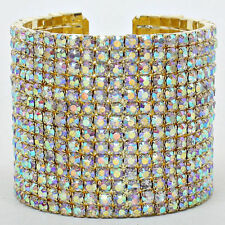 LUXE Statement Celeb Gold AB Crystal Cuff Cocktail Bracelet by Rocks Boutique