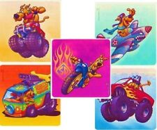 5 x Square Stickers ~ Scooby Doo Truck Motorbike Plane Sports Party Favours ~