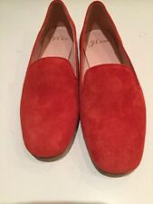 J.crew women's shoes 6 suede leather smoking slipper fiery sunset red flats