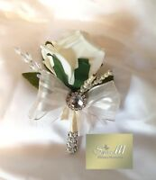 IVORY ROSE BUTTONHOLE, DIAMANTE, CRYSTAL, ARTIFICIAL WEDDING FLOWERS