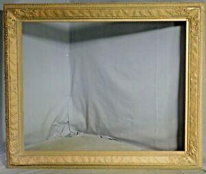 Antique Arts Crafts Closed Corner Custom Picture Frame Gilt Gesso Wood 22x27