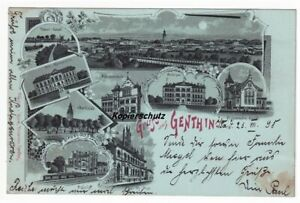 Mondschein Litho Ak 1898 Genthin, Gymnasium, Bahnhof, Mädchenschule ...
