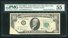 """FR. 2017-B 1963-A $10 FRN """"PRINTED FOLD ERROR"""" PMG ABOUT UNCIRCULATED-55"""