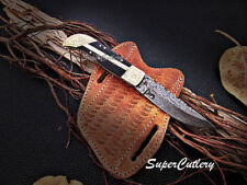 Handmade Damascus Folding Knife Damascus steel Buffalo horn handle pocket knife