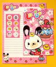 "Japanese Letter Set: Pink ""Love Usa"" Bunny & Kawaii Strawberry Flowers"
