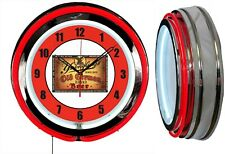 "Yuengling Old German BEER 19"" RED Double Neon Clock Man cave Garage Bar"
