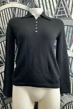 Malo 100% Cashmere Black Button Sweater Women's 36 Made In Italy