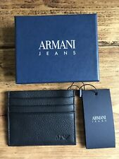 Armani Jeans Card Holder Leather Wallet In Black PAJS201602888  RRP £70