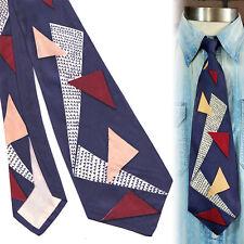 1940s Tumbling Triangles Blue Geometric Vintage Necktie Art Deco Swing Tie