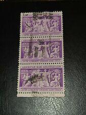 Sc# 1022 US Stamp 1953 3c American Bar Association Used Strip of 3  -#2159