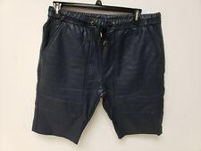 Kite Mens Shorts Vegan Leather Shorts Navy Blue 38 Drawstring