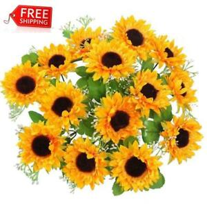 AmyHomie Artificial Flowers Silk Sunflowers 2 bunches/Pack Artificial Sunflower